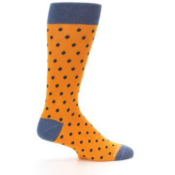 Image of Orange Navy Polka Dot Men's Dress Socks (side-1-24)