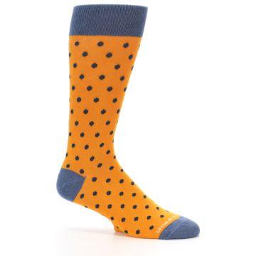 Image of Orange Navy Polka Dot Men's Dress Socks (side-1-25)