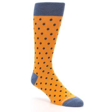 Image of Orange Navy Polka Dot Men's Dress Socks (side-1-27)