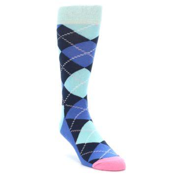 Image of Navy Blue Argyle Men's Dress Socks (side-1-front-02)