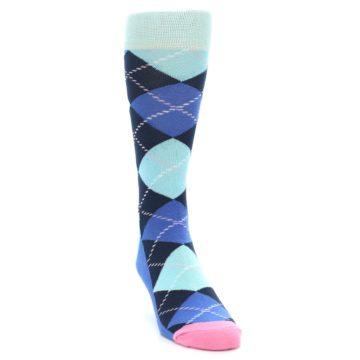 Image of Navy Blue Argyle Men's Dress Socks (side-1-front-03)