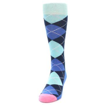 Image of Navy Blue Argyle Men's Dress Socks (side-2-front-06)
