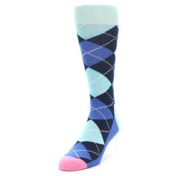 Image of Navy Blue Argyle Men's Dress Socks (side-2-front-07)