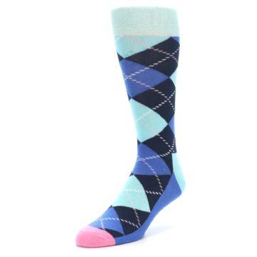 Image of Navy Blue Argyle Men's Dress Socks (side-2-front-08)