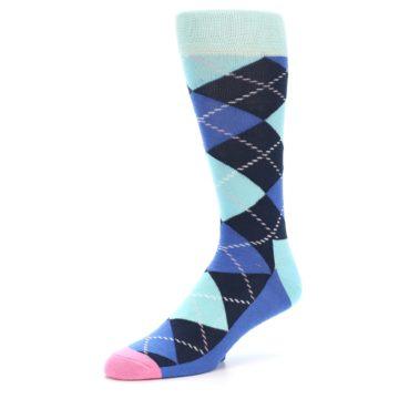 Image of Navy Blue Argyle Men's Dress Socks (side-2-09)