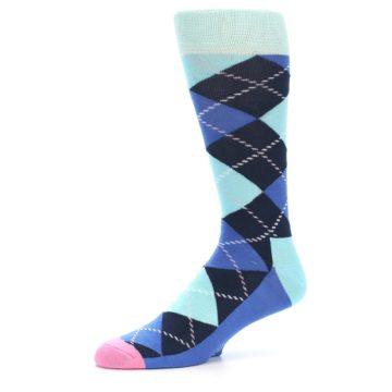 Image of Navy Blue Argyle Men's Dress Socks (side-2-10)