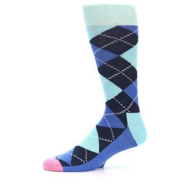 Image of Navy Blue Argyle Men's Dress Socks (side-2-11)