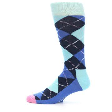 Image of Navy Blue Argyle Men's Dress Socks (side-2-12)