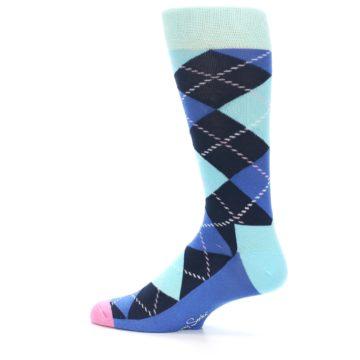 Image of Navy Blue Argyle Men's Dress Socks (side-2-13)