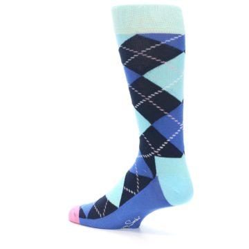 Image of Navy Blue Argyle Men's Dress Socks (side-2-back-14)