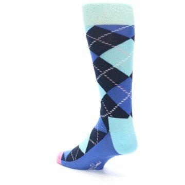 Image of Navy Blue Argyle Men's Dress Socks (side-2-back-15)
