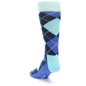 Image of Navy Blue Argyle Men's Dress Socks (side-2-back-16)