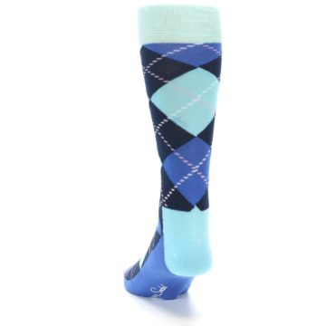 Image of Navy Blue Argyle Men's Dress Socks (back-17)