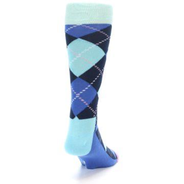 Image of Navy Blue Argyle Men's Dress Socks (side-1-back-20)