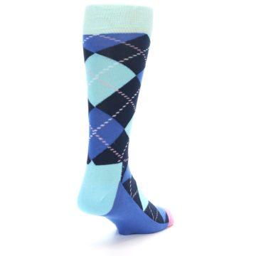 Image of Navy Blue Argyle Men's Dress Socks (side-1-back-21)