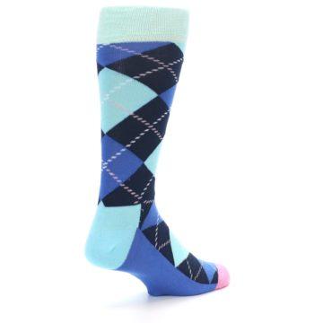 Image of Navy Blue Argyle Men's Dress Socks (side-1-back-22)