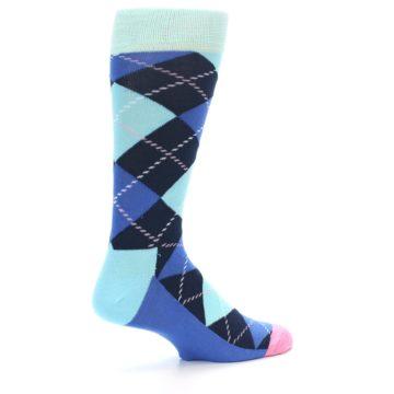 Image of Navy Blue Argyle Men's Dress Socks (side-1-23)