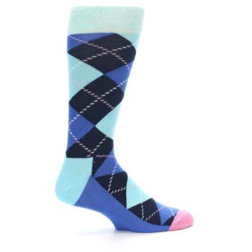 Image of Navy Blue Argyle Men's Dress Socks (side-1-24)