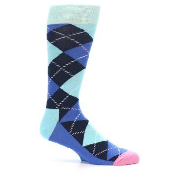 Image of Navy Blue Argyle Men's Dress Socks (side-1-25)