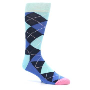 Image of Navy Blue Argyle Men's Dress Socks (side-1-26)