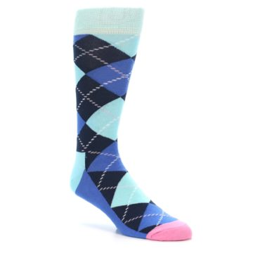 Image of Navy Blue Argyle Men's Dress Socks (side-1-27)