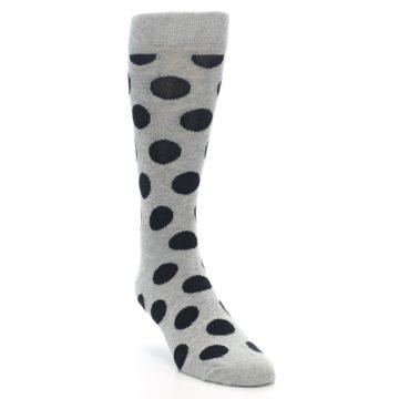 Image of Grey Black Polka Dot Men's Dress Socks (side-1-front-02)