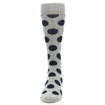 Image of Grey Black Polka Dot Men's Dress Socks (front-05)