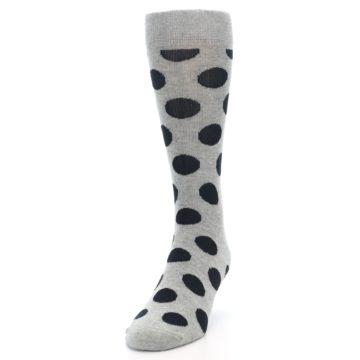 Image of Grey Black Polka Dot Men's Dress Socks (side-2-front-06)