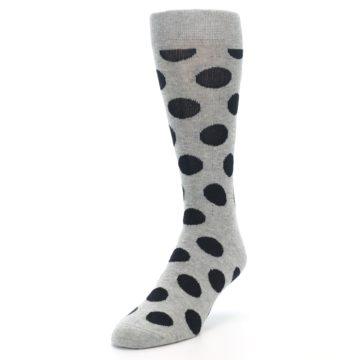 Image of Grey Black Polka Dot Men's Dress Socks (side-2-front-07)