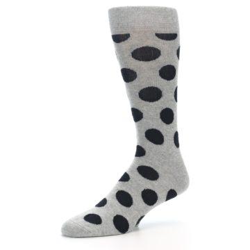 Image of Grey Black Polka Dot Men's Dress Socks (side-2-09)