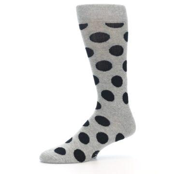 Image of Grey Black Polka Dot Men's Dress Socks (side-2-10)