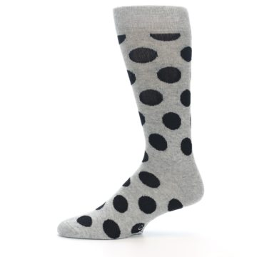 Image of Grey Black Polka Dot Men's Dress Socks (side-2-11)