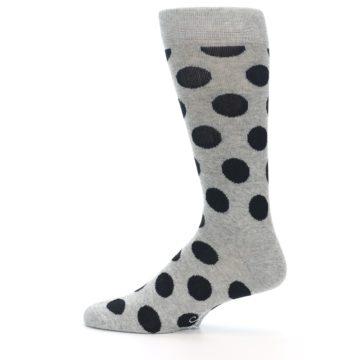 Image of Grey Black Polka Dot Men's Dress Socks (side-2-12)