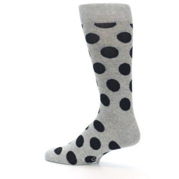 Image of Grey Black Polka Dot Men's Dress Socks (side-2-13)