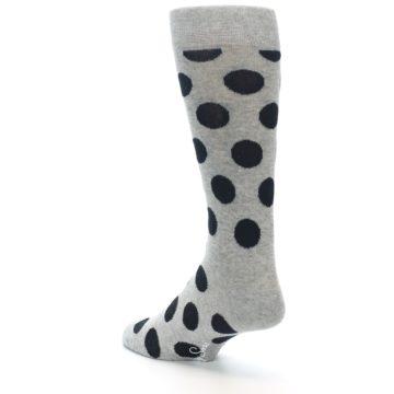 Image of Grey Black Polka Dot Men's Dress Socks (side-2-back-15)