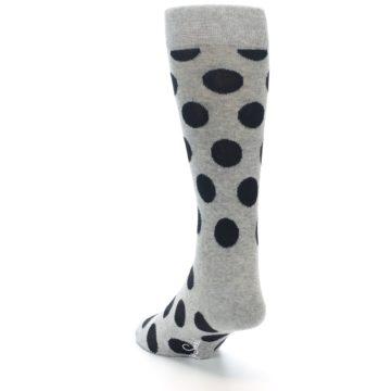 Image of Grey Black Polka Dot Men's Dress Socks (side-2-back-16)