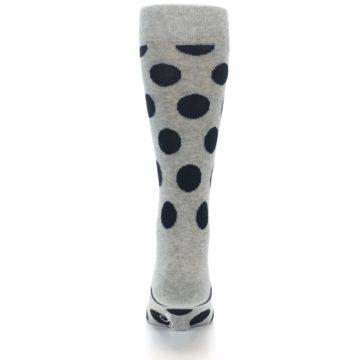 Image of Grey Black Polka Dot Men's Dress Socks (back-18)