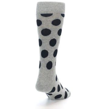 Image of Grey Black Polka Dot Men's Dress Socks (side-1-back-20)