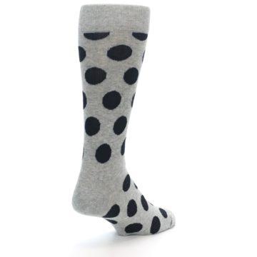 Image of Grey Black Polka Dot Men's Dress Socks (side-1-back-21)