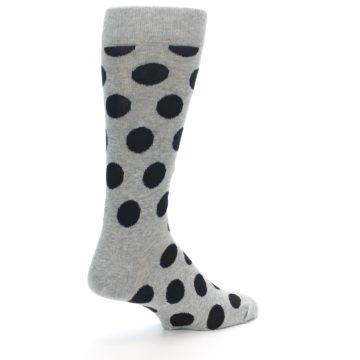 Image of Grey Black Polka Dot Men's Dress Socks (side-1-back-22)