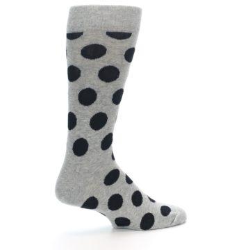 Image of Grey Black Polka Dot Men's Dress Socks (side-1-23)