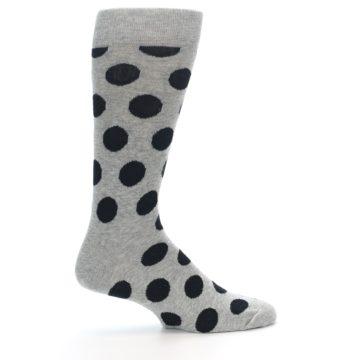 Image of Grey Black Polka Dot Men's Dress Socks (side-1-24)