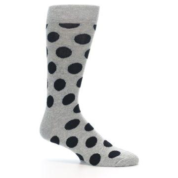 Image of Grey Black Polka Dot Men's Dress Socks (side-1-25)