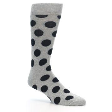 Image of Grey Black Polka Dot Men's Dress Socks (side-1-26)