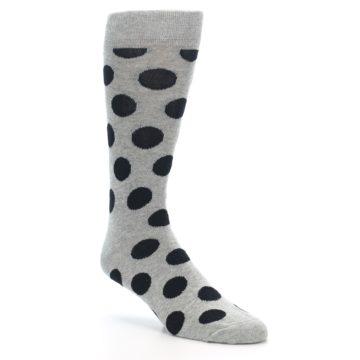 Image of Grey Black Polka Dot Men's Dress Socks (side-1-27)