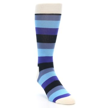Image of Blues Stripe Men's Dress Socks (side-1-front-02)