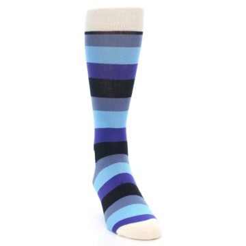 Image of Blues Stripe Men's Dress Socks (side-1-front-03)