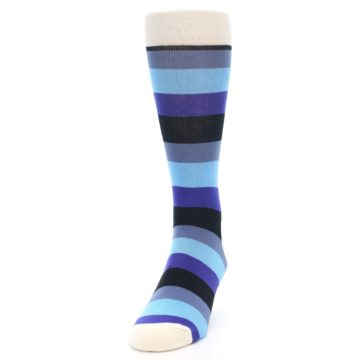 Image of Blues Stripe Men's Dress Socks (side-2-front-06)