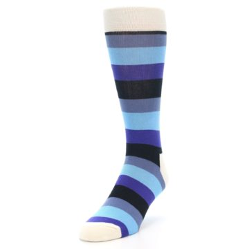 Image of Blues Stripe Men's Dress Socks (side-2-front-07)