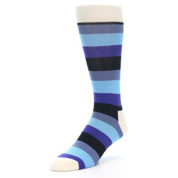 Image of Blues Stripe Men's Dress Socks (side-2-front-08)